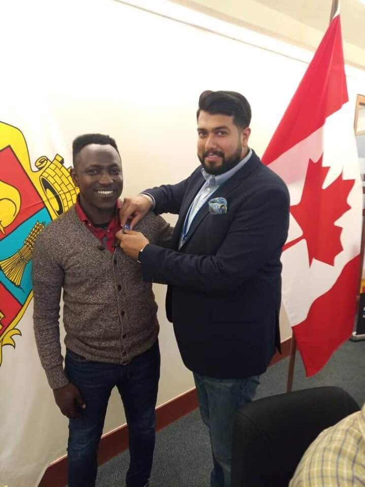 Olorunsheyi as a guest at the office of the Mayor of Brampton in Ontario Canada